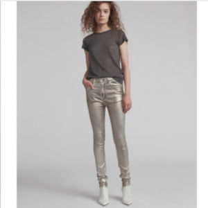 Rag & Bone Metallic Silver High Rise Jeans 29 New
